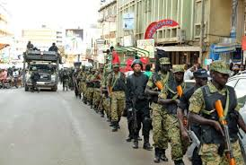 UPDF soldiers and police forces patrol streets in Kampala