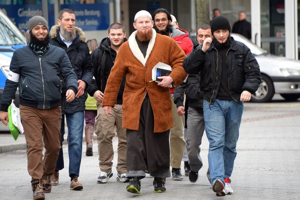 Islamic preacher Pierre Vogel arrives for a rally of supporters of Salafism, a fundamentalist strain of Islam, in Pforzheim, Germany, last year.
