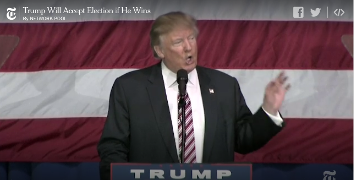 Donald Trump Says He Will Accept Election Outcome ('if I Win')  10/20/16