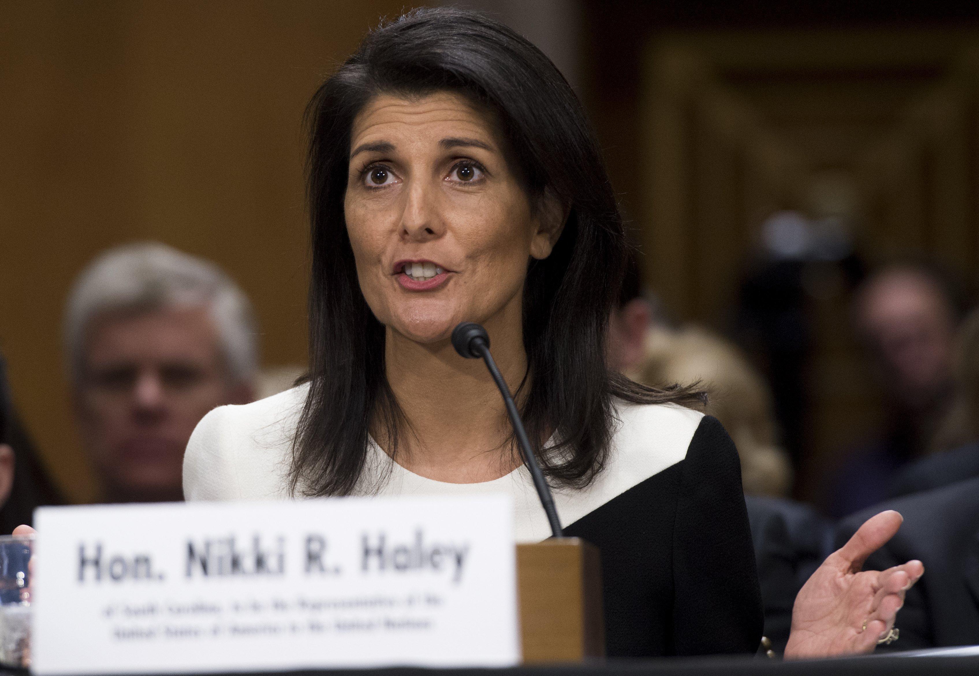 Nikki Haley at confirmation hearing