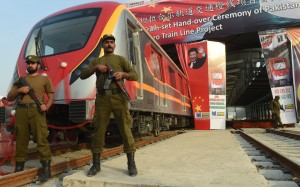 Pakistani police on guard at Chinese invested light rail