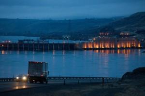 Hydro Electric power-Rock Island dam on the Columbia River near Wenatchee, Wash.