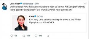 Jeet Heer tweet about NoKo better than Trump