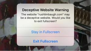 Rush Limbaugh get censor warning from Apply Safari