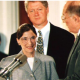 Ginsburg being sworn in with Clinton in background